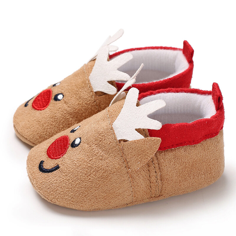 Baby Toddler Shoes Cute Cartoon Little Elk Round Toe Warm Soft Sole Cotton Snow Boots
