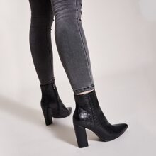 Point Toe Side Zip Croc Chunky Boots