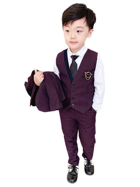 Milanoo Trajes de portador de anillo Poliester Algodon Mangas largas Abrigo Chaleco Pantalones Azul oscuro Trajes de boda para niño