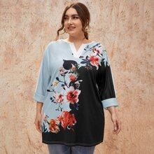 Camisetas de Tallas grandes Floral Casual