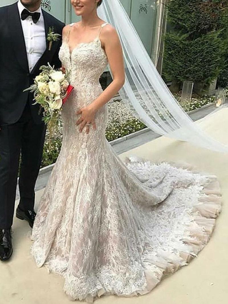 Ericdress Spaghetti Straps Ruffles Mermaid Lace Wedding Dress