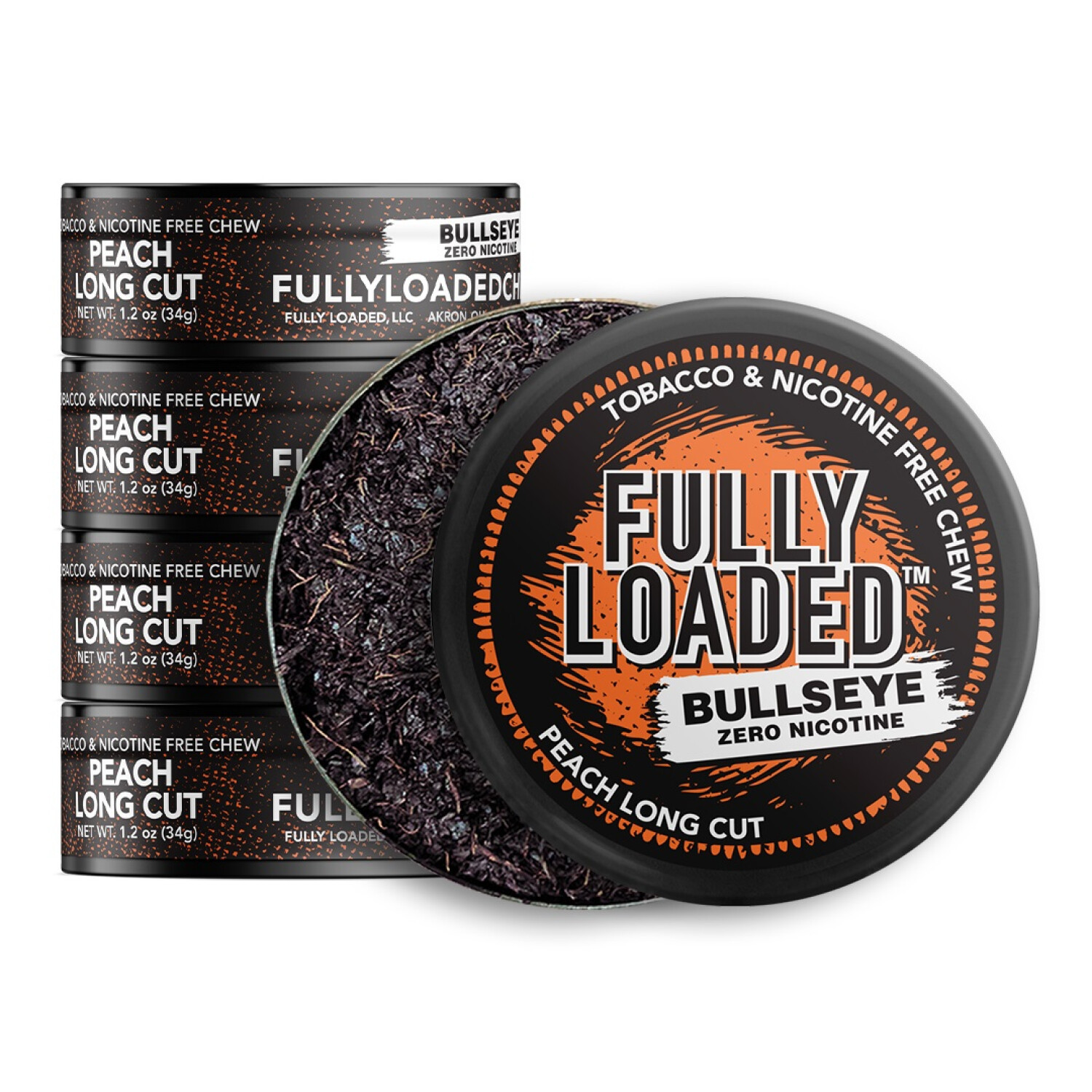 Fully Loaded Chew Tobacco and Nicotine Free Peach Bullseye Long Cut Sweet Flavor, Chewing Alternative-5 Cans