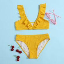 Bañador de niñas Volante Liso Amarillo Dulce