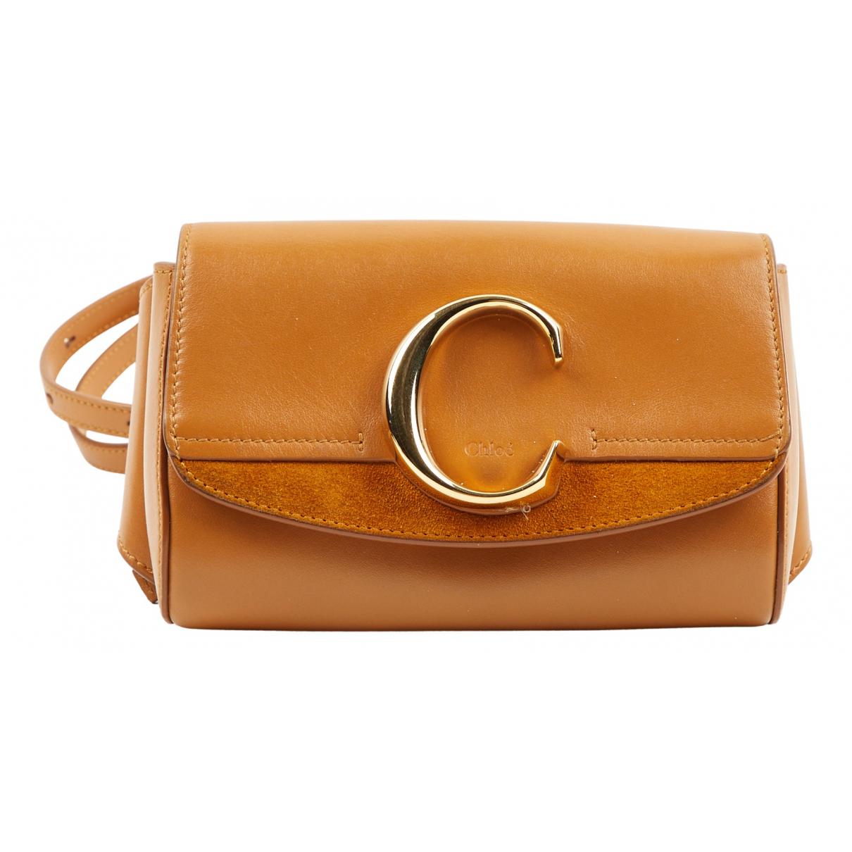 Chloe - Sac a main C pour femme en cuir - camel