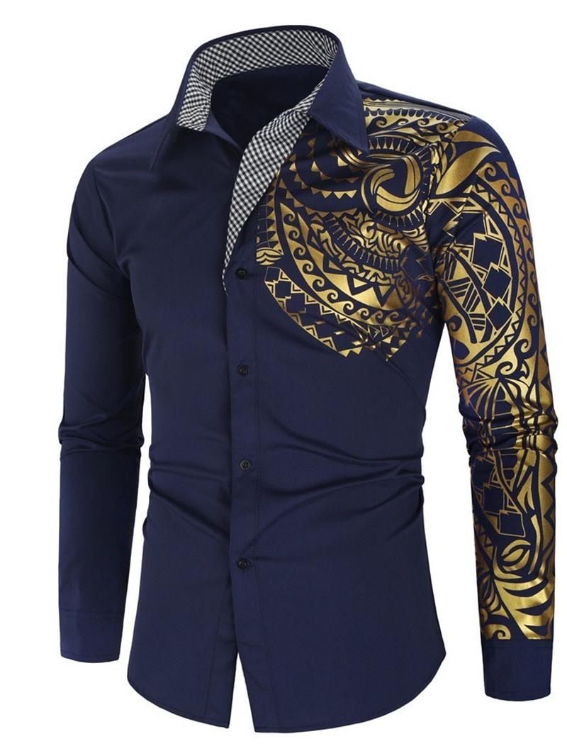 Ericdress Vintage Geometric Lapel Single-Breasted Men'sSlim Shirt