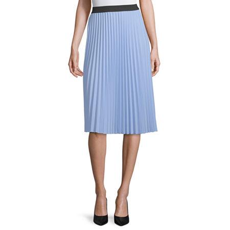Worthington Womens Midi Pleated Skirt, X-large , Blue