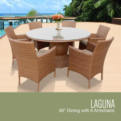 LAGUNA-60-KIT-6-WHEAT Laguna 60 Inch Outdoor Patio Dining Table with 6 Chairs w/ Arms with 2 Covers: Wheat and