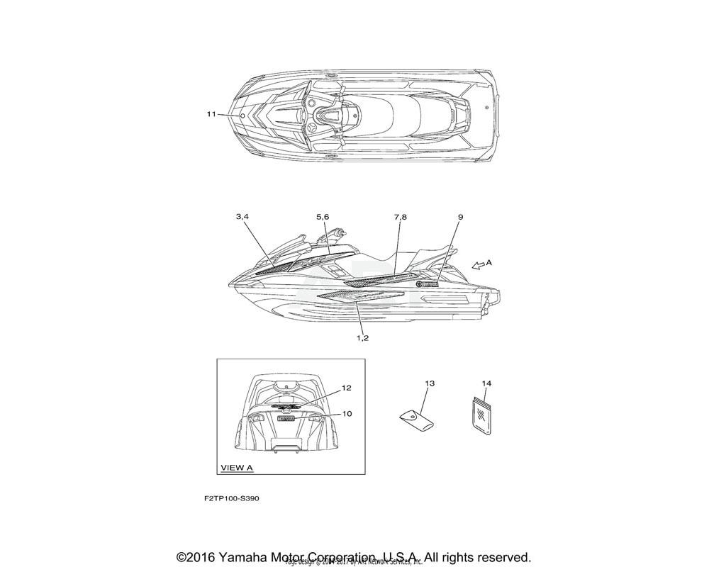 Yamaha OEM F2T-U417F-J0-00 GRAPHIC 5 (LH)
