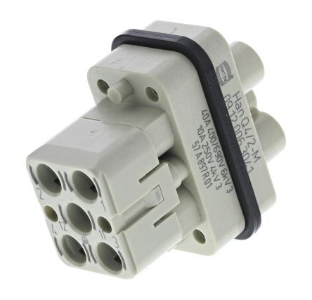 HARTING Han Q Series Connector Insert, Male, 7 Way, 40A, 690 V