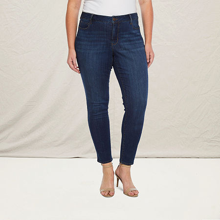 a.n.a-Plus Womens 5 Pocket Skinny Jean, 20w Short , Blue