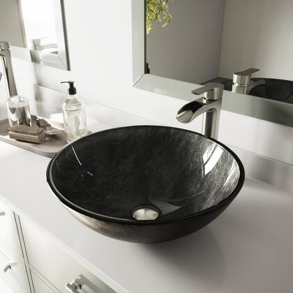 VGT1058 Gray Onyx Glass Vessel Bathroom Sink Set With Niko Vessel Faucet in Brushed