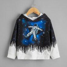 Capucha con estampado de astronauta de color combinado