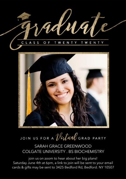 Graduation Invitations 5x7 Cards, Premium Cardstock 120lb with Rounded Corners, Card & Stationery -Virtual Grad Party Gold Script by Tumbalina