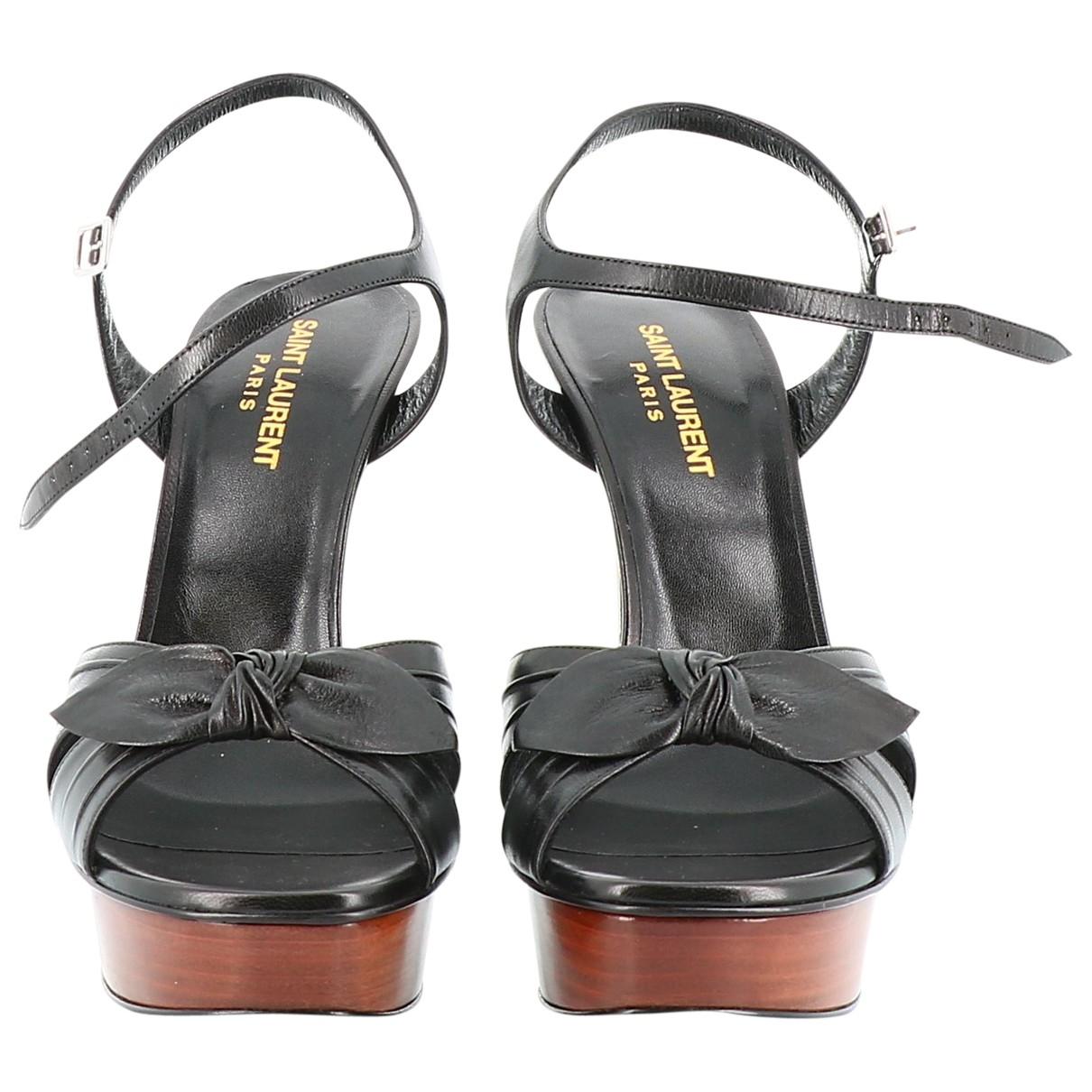 Saint Laurent - Sandales   pour femme en cuir - noir