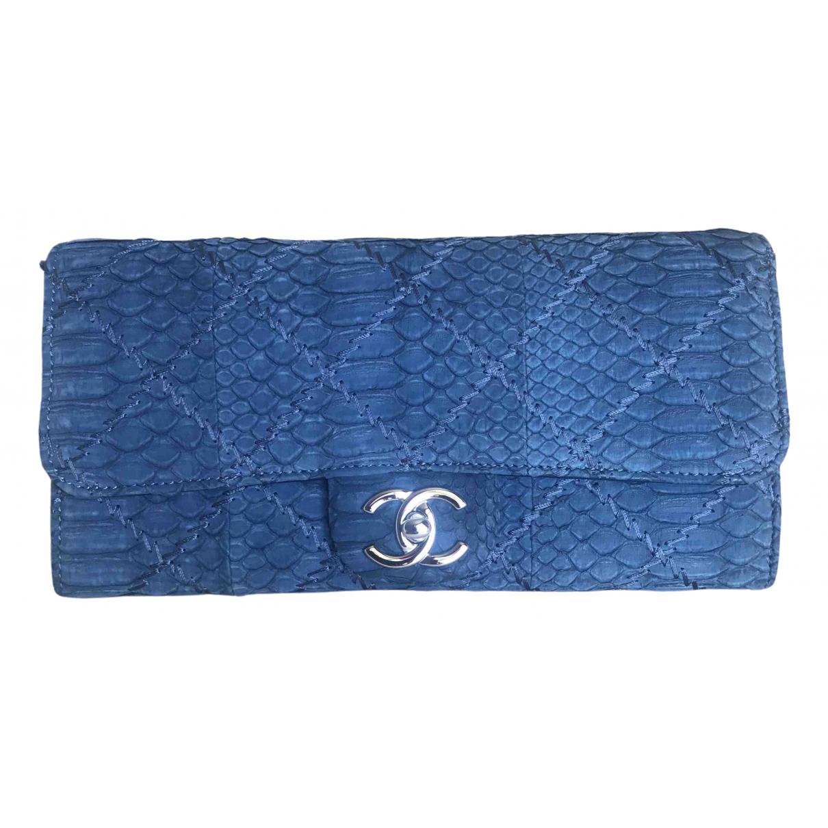 Chanel - Pochette   pour femme en python - bleu