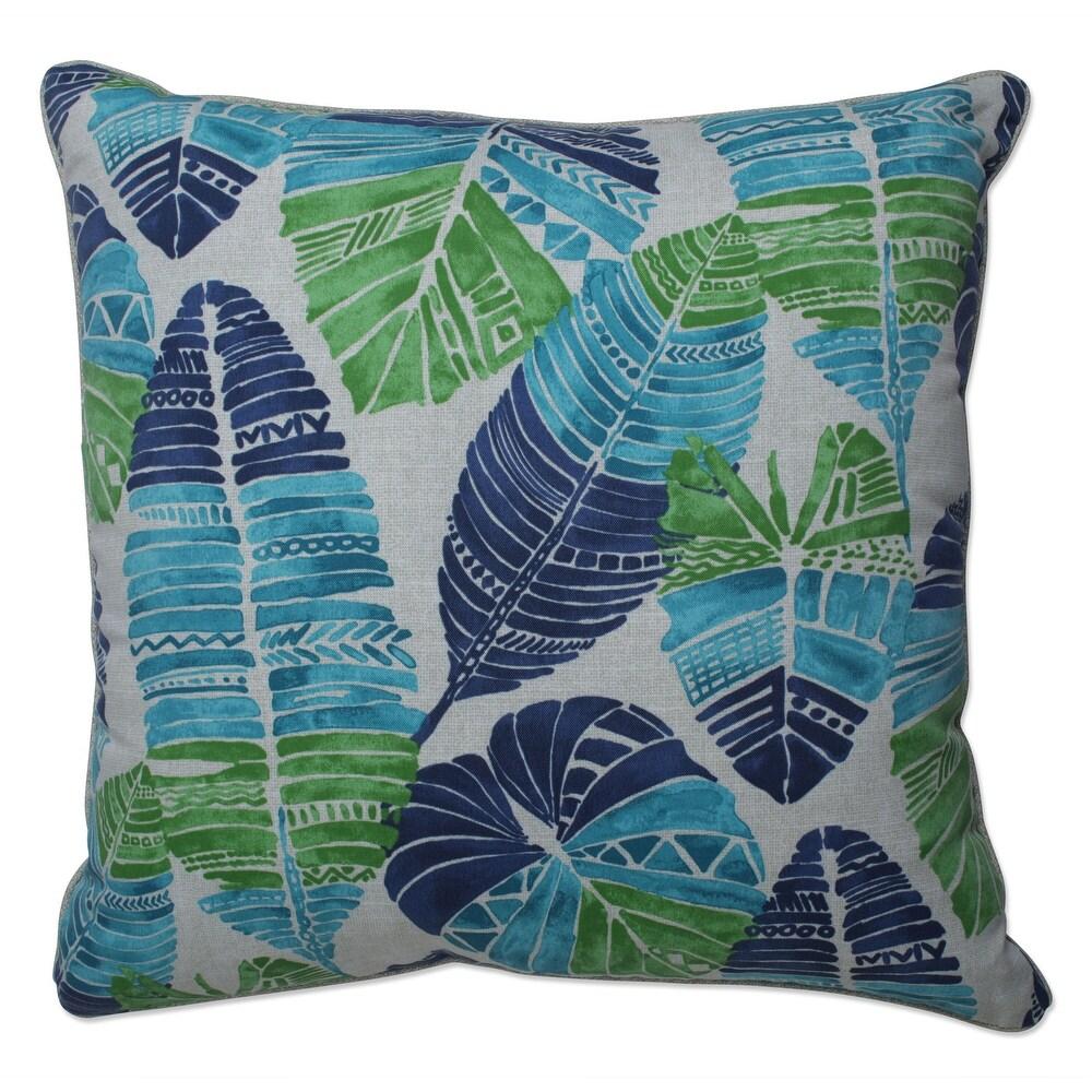 Pillow Perfect Outdoor | Indoor Hixon Caribe 25 Inch Floor Pillow 25 X 25 X 5 (Blue)