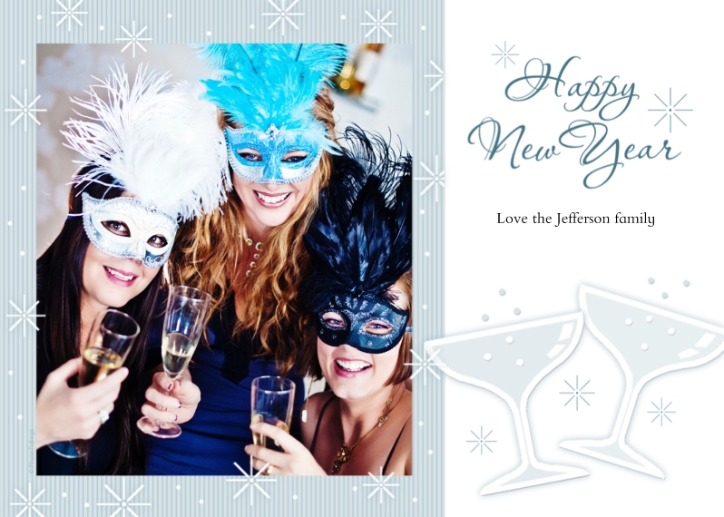New Year's Photo Cards 5x7 Cards, Premium Cardstock 120lb with Rounded Corners, Card & Stationery -Happy New Year