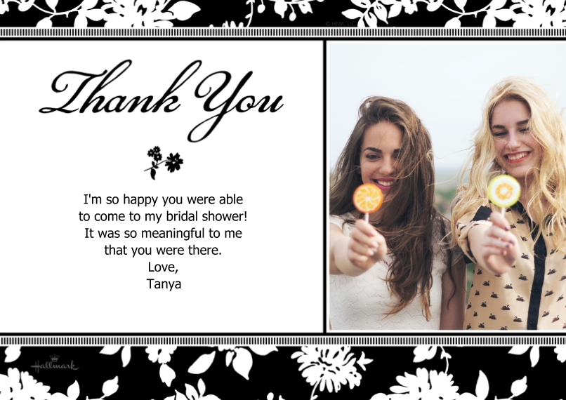 Wedding Thank You 5x7 Cards, Standard Cardstock 85lb, Card & Stationery -Black & White Floral - Thank You