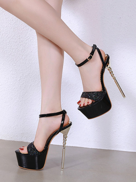 Milanoo High Heel Sandals Women Platform Open Toe Ankle Strap Sandal Shoes Glitter Sexy Shoes