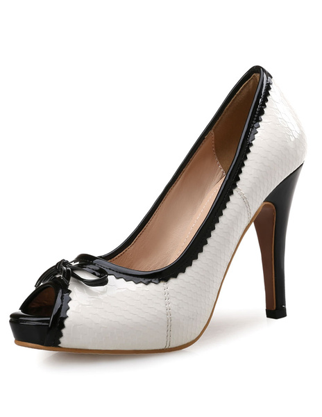 Milanoo White Platform Peep Pumps High Heel Bow Shoes For Women