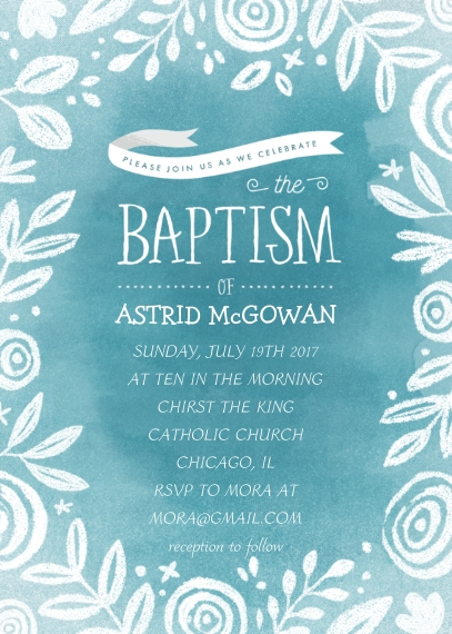 Baptism Invitations Flat Matte Photo Paper Cards with Envelopes, 5x7, Card & Stationery -Baptism Watercolor Stencil