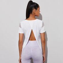 Camiseta deportiva de espalda con abertura panel con malla