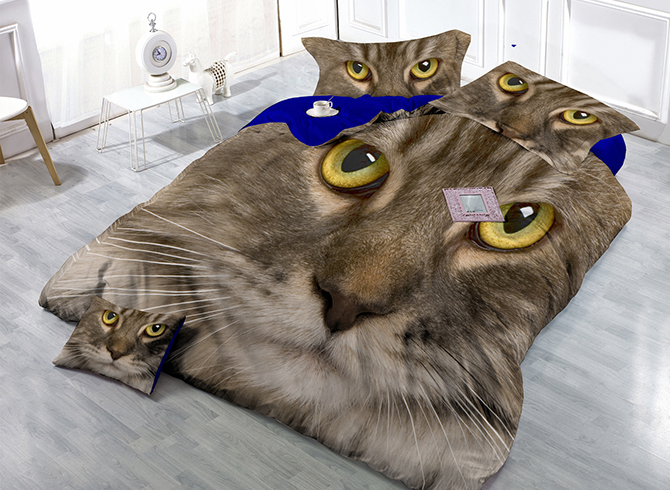 American Shorthair Cat Wear-resistant Breathable High Quality 60s Cotton 4-Piece 3D Bedding Sets