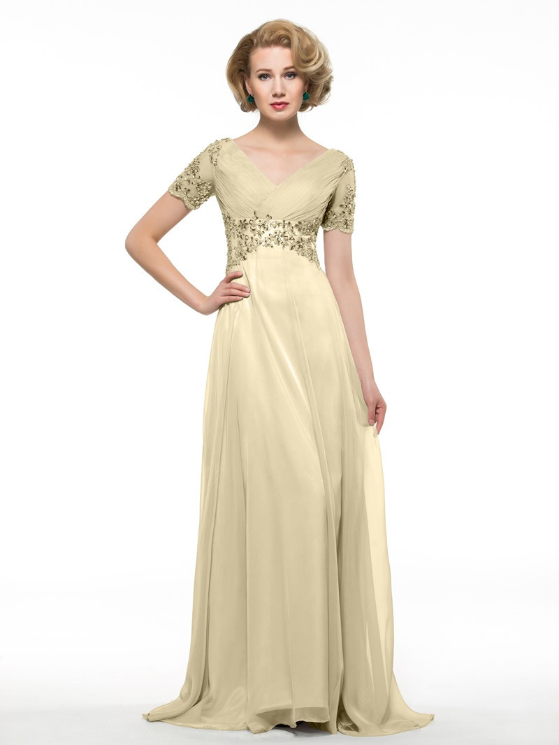 Ericdress Short Sleeves Beading Appliques Mother Of The Bride Dress