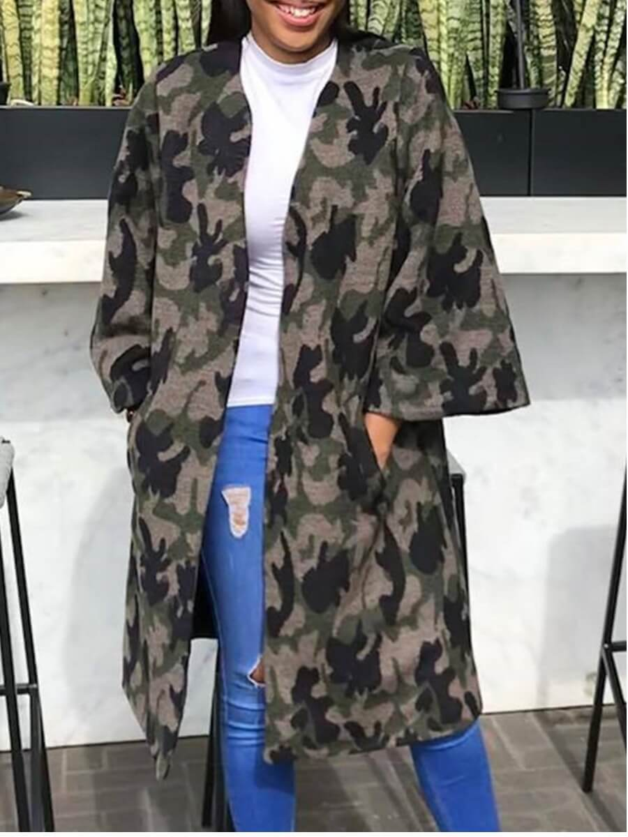 LW Lovely Casual Camo Print Loose Grey Trench Coat