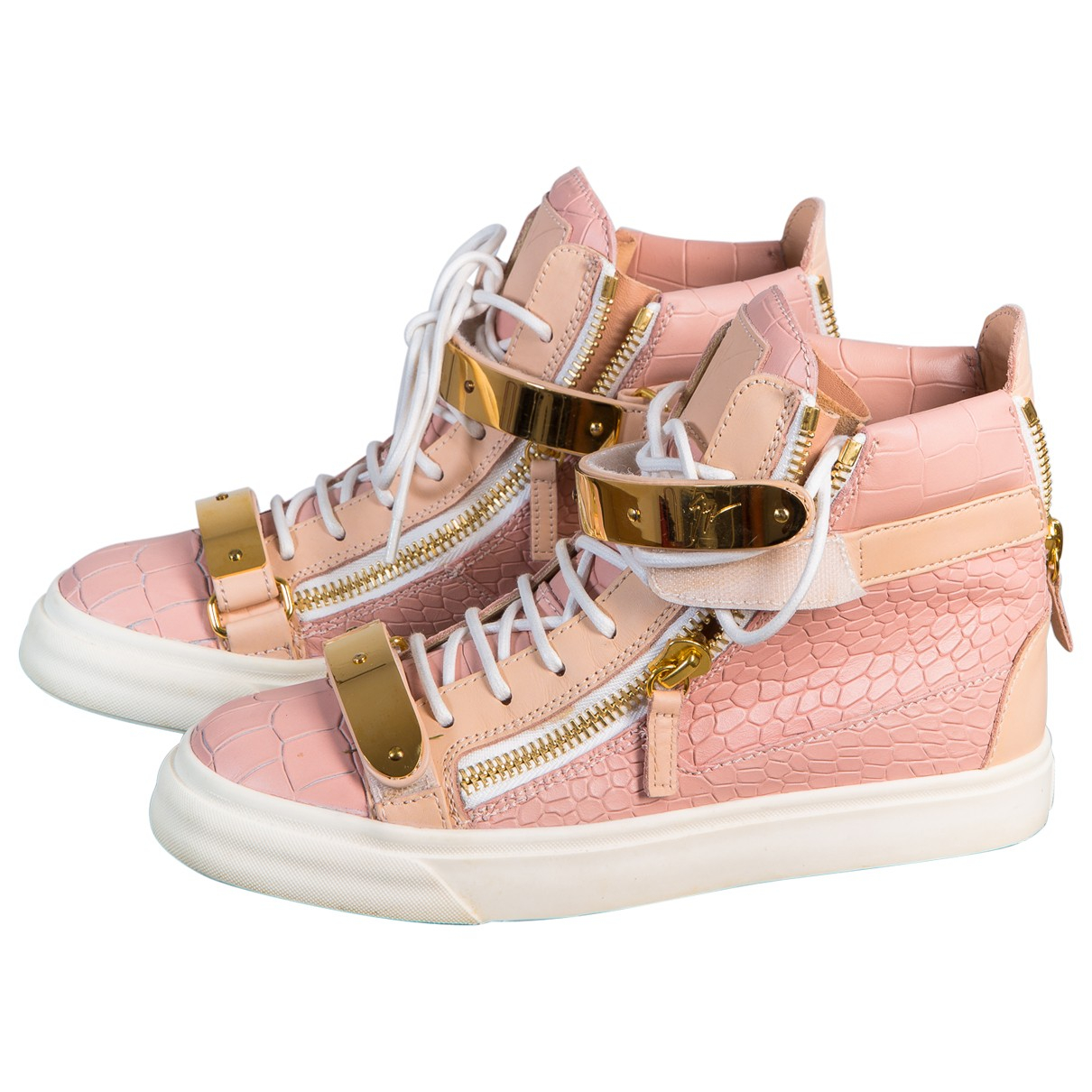 Giuseppe Zanotti N Pink Leather Trainers for Women 37.5 EU