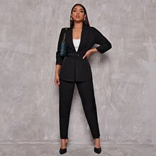 Peak Collar Buckle Belted Blazer and Pants Set