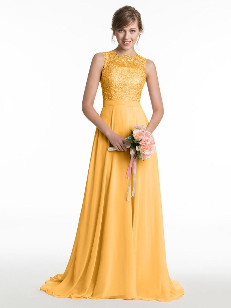 Ericdress Sheer Back Lace Long Bridesmaid Dress