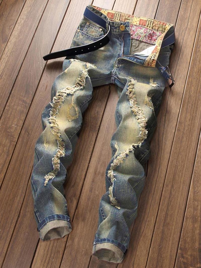 Ericdress Straight Zipper Mens Ripped Jeans