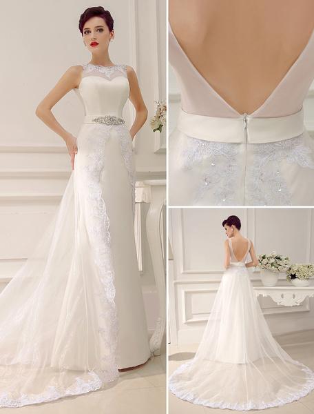 Milanoo Vestido de novia con escote redondo y pedreria de cola larga