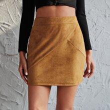 Suede Zip Back Bodycon Skirt