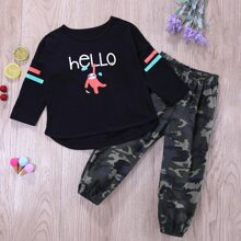 Toddler Boys Cartoon And Letter Graphic Tee With Camo Print Pants