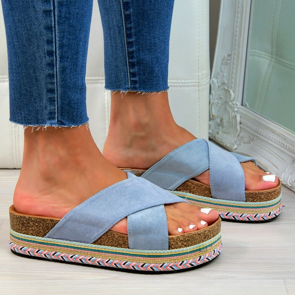 Women Casual Cross Band Peep Toe Platform Slippers