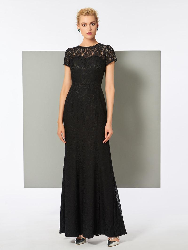 Ericdress Cap Sleeve Floor Length Lace Evening Dress