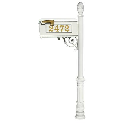 LMCV-703-WHT Lewiston Equine Mailbox Post System with decorative ornate base  pineapple finial and Gold Vinyl personalized