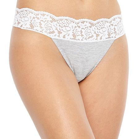 Ambrielle Knit Thong Panty, X-large , Gray