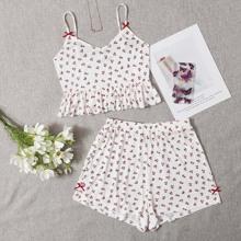 Bow Detail Ruffle Hem Cherry Print Cami Top & Shorts Set