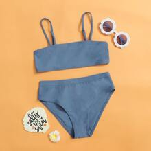 Maedchen Bikini Badeanzug mit hoher Taille