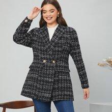 Tweed Blazer mit Revers Kragen und Klappe