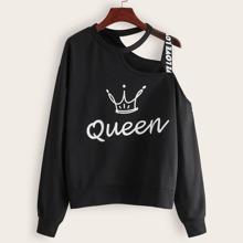 Sweatshirt in Ubergrosse mit Buchstaben Muster und Band