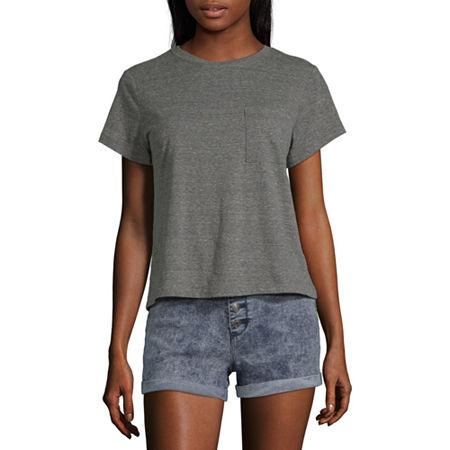 Arizona Juniors-Womens Crew Neck Short Sleeve T-Shirt, 3x-large , Gray
