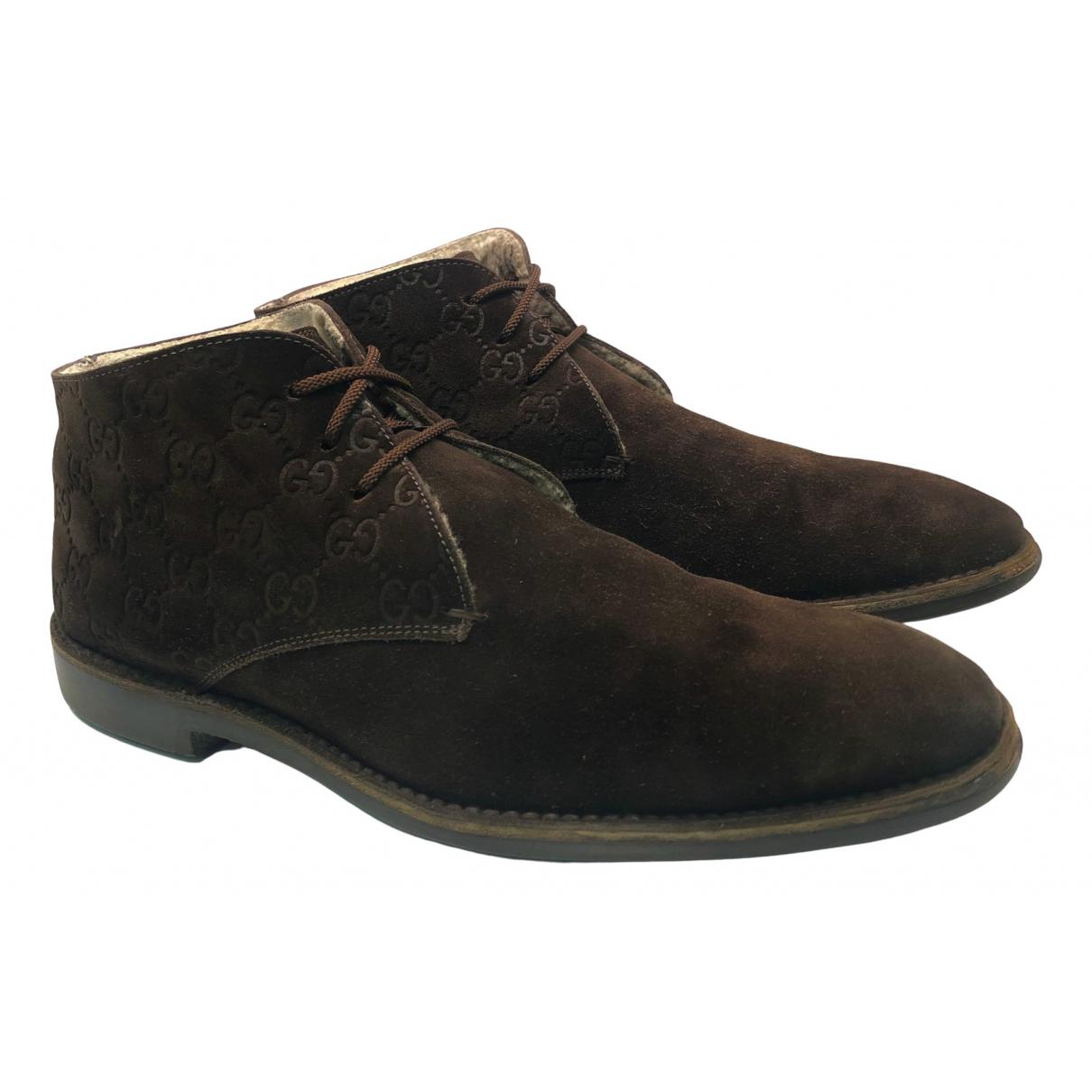 Gucci - Bottes.Boots   pour homme en suede - marron