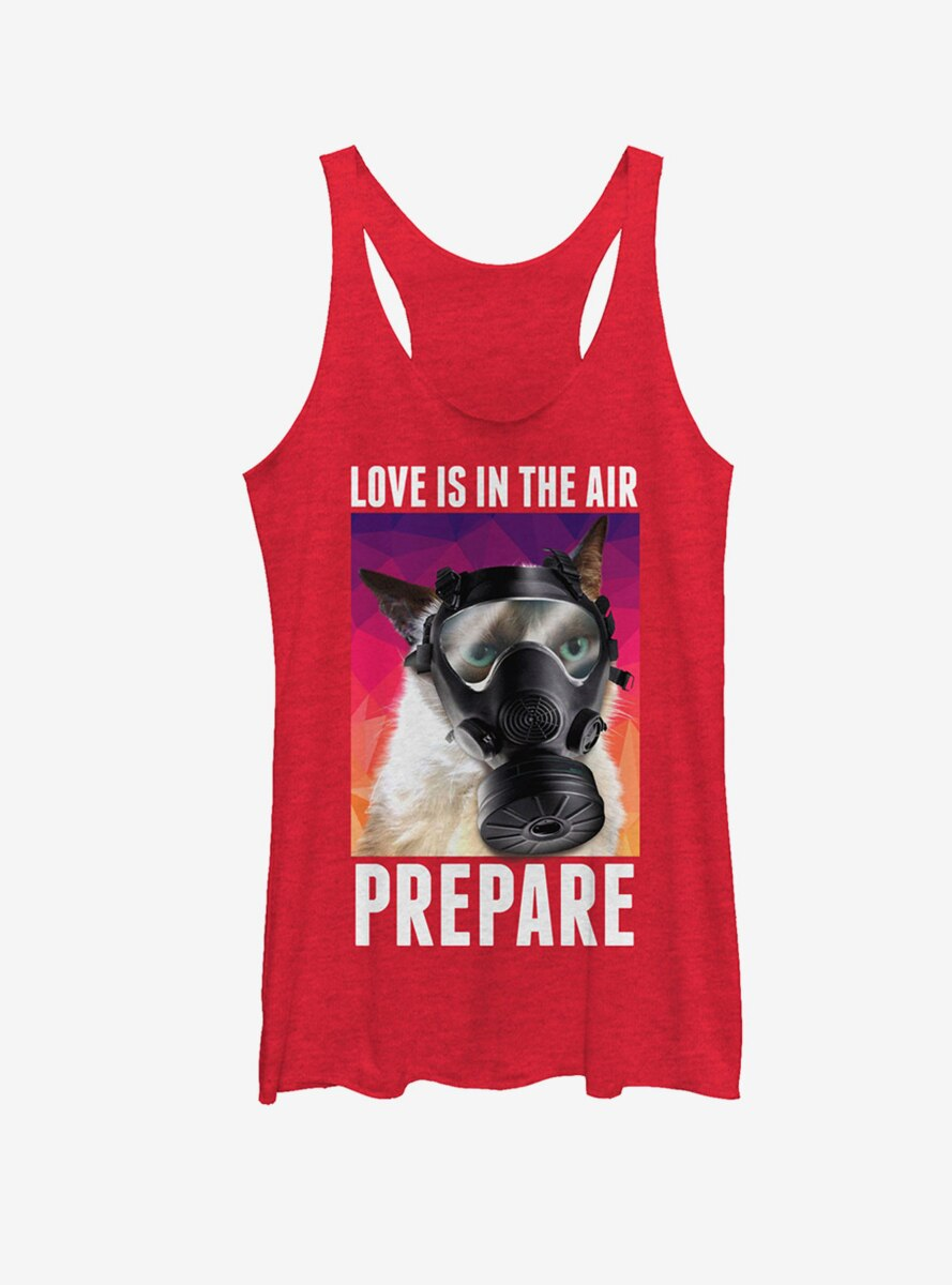 Grumpy Cat Valentine's Love in the Air Gas Mask Womens Tank