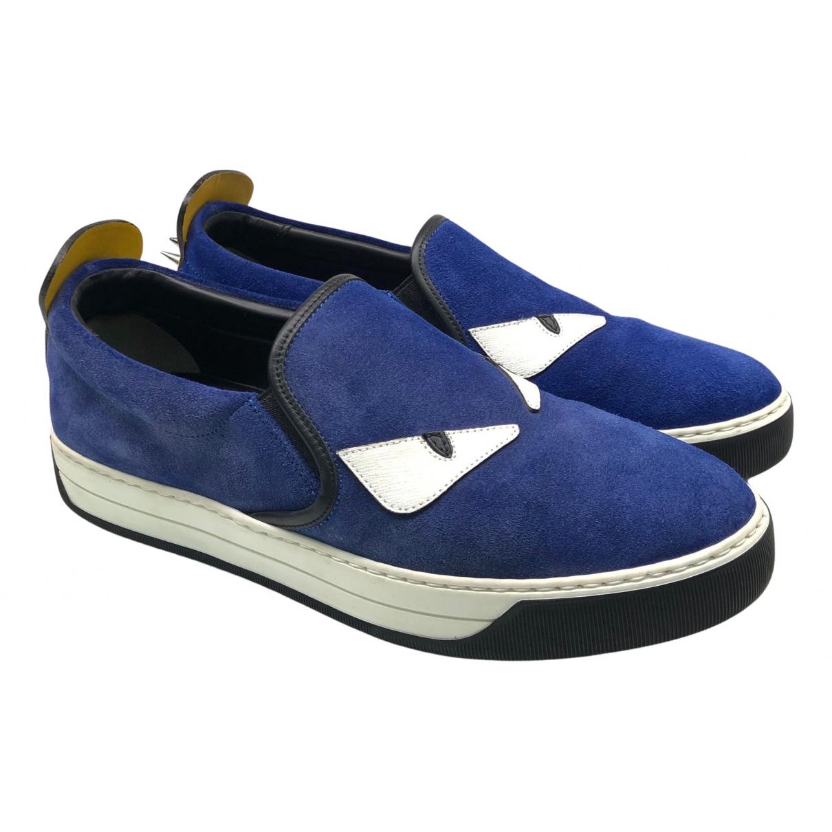 Fendi - Baskets   pour homme en suede - bleu