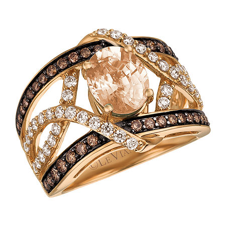 LIMITED QUANTITIES! Le Vian Grand Sample Sale Ring featuring Peach Morganite, 3/8 cts. Chocolate Diamonds, 1/2 cts. Nude Diamonds set in 14K Strawbe