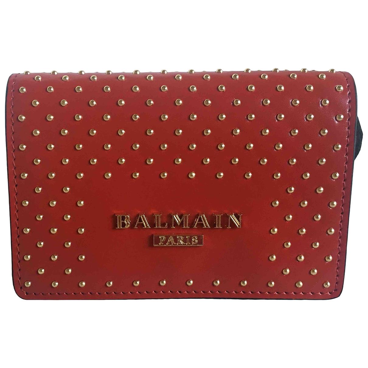 Balmain - Petite maroquinerie   pour femme en cuir - rouge